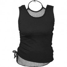 Damen Top GOTHIC ROCK - 2in1 Neck Tie Mesh Top Black