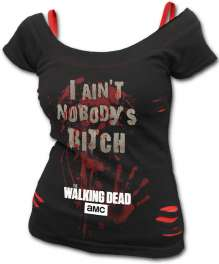 NOBODY'S BITCH - Walking Dead 2in1 Red Ripped Top